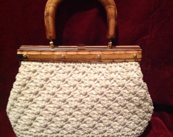 1950s Vintage Woven ladies Handbag / Purse /Made in Italy /  Vintage Top Handle Bag