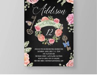 Birthday Invitation | Secret Garden Party | Printable Girls Invite | Floral Butterfly | Fully Editable | Instant Download | Templett #032GBD