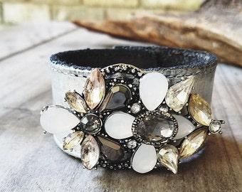 Bejeweled Genuine Leather Cuff