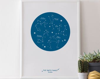 A4 Personalised Family Print : Zodiac Constellations