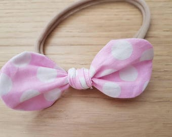 The Minnie Collection | Knot bow Baby/Toddler Headband or Ponytail holder (hair elastic) - Pastel pink w white coinspot