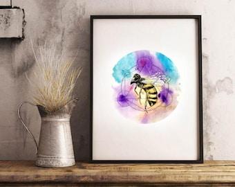 Bee Watercolour Illustration Art Print 2