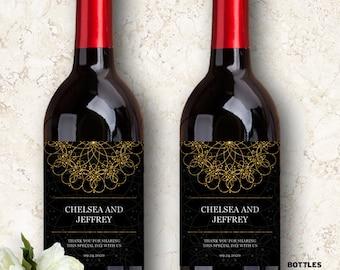 "Printable Elegant Mandala Faux Gold and Black Wine Bottle Labels; Personalized 4"" x 5"" Labels - Editable PDF, Instant Download"