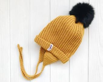 Yellow Baby merino hat Organic baby clothes Baby reveal box Organic newborn hat Knit earflap hat Merino wool baby hat Woolen hat Crochet