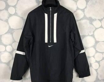 Vintage 90s Nike Big Swoosh Logo Windbreaker Jacket Black