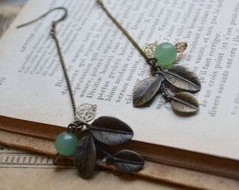Long earrings, bronze and aventurine