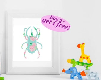 Rhino beetle cross stitch pattern, floral silhouette insect PDF pattern, modern flowers silhouette cross stitch