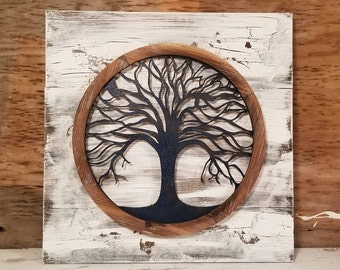 reclaimed wood tree of life wall art metal wall art metal tree wall art