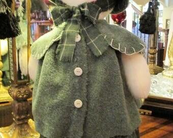 "Snow Girl  Stands 23"" Tall Green Dress Christmas Decor"