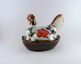 Vintage Ceramic Hand Painted Schramberg Pottery Chicken Hen Covered Dish Nest For Easter