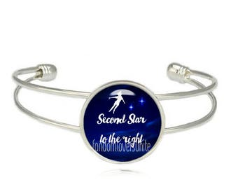 Peter Pan Cuff Bangle Second Star to the Right Bracelet Peter Pan Jewelry Fangirl Fanboy