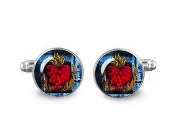 Burning Heart Cuff Links R'hllor Cuff Links 16mm Lord of Light Game of Thrones Gift for Men Groomsmen Novelty Cuff links