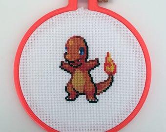 Charmander - Pokeman Hoop Cross Stitch