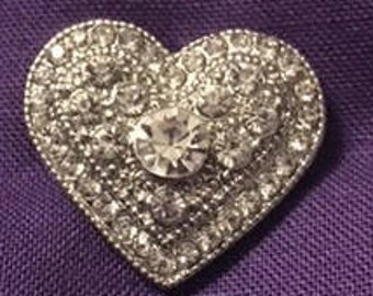 Sparkling Rhinestone 20mm Interchangeable Snap Heart - Fits alll 18mm Snap Jewelry