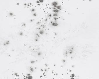 """Art  abstrait contemporain - Encres sur papier """"particules"""" oeuvre originale - encre noire"""