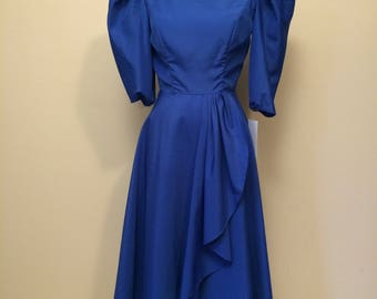 Royal Blue 1980's Formal Dress Extra Small | Evening Dress | Party Dress | Leg of Mutton Sleeve | Puff Sleeve