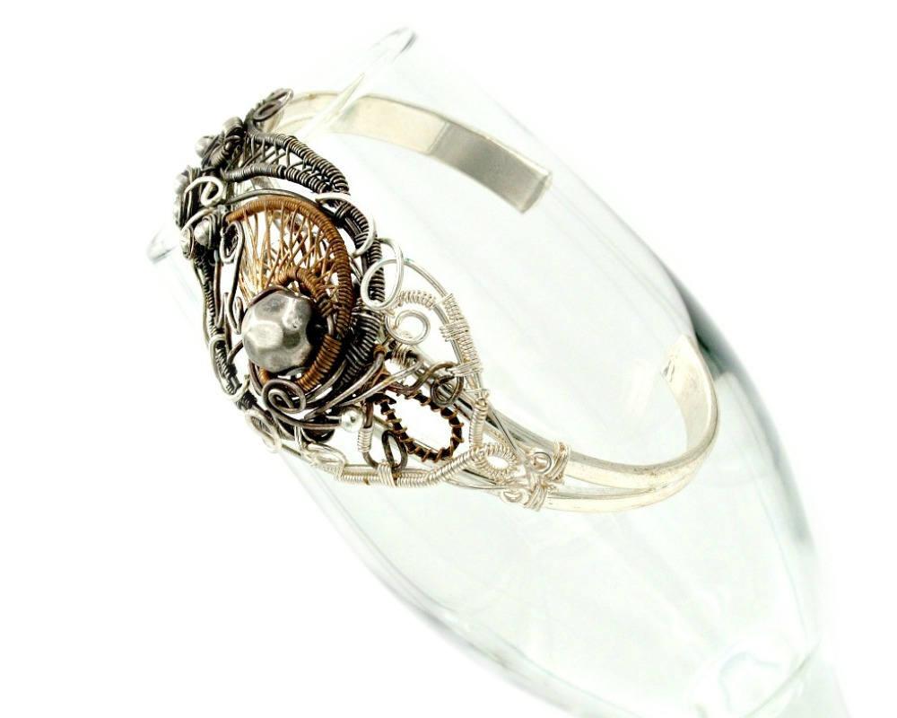 Her brown bracelet heady wire wrap statement bracelet, wire wrapped ...