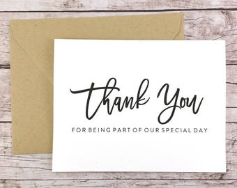 Thank You for Being Part of our Special Day Card, Wedding Thank You Card, Wedding Vendor Thank You - (FPS0017)