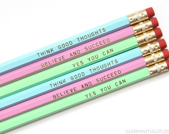 Inspirational Pencils, Positive Pencils, Cute Office Supplies, Engraved Pencils, Cubicle Decor, First Day of School Gift for Kids
