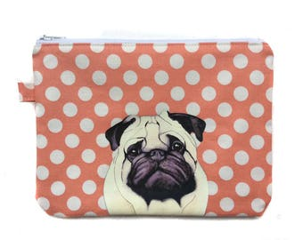 Pug Flat purse, Zipper pouch, Dog treat bag, Cosmetic purse, Pencil Case, Fabric pouch, Dog gift, Dog lover, Polka dot fabric,