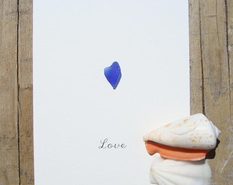 Seaglass card-Genuine seaglass-Seaglass art-Hand made greeting cards-postcard with heart-Card OOAK-Love-blue heart