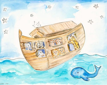 Printable Noah's Ark, Printable Whale, Print at Home Gift Baby Boy, Baby Girl Gift, Nursery Decor, Nursery Room Art, Baby Dove Wall Art Gift