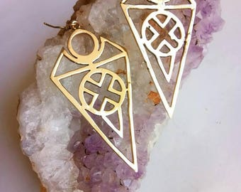 Geometric Earrings. Drop Earrings, Brass Earrings, Tribal Earrings, Triangles Earrings, Boho Earrings. Festival Earrings. Ethnic Earrings.