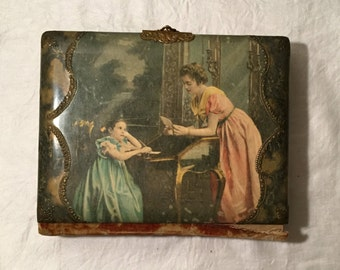 Beautiful Antique Photo Album - Celluloid Front and Velvet Back with NINE Cabinet Photos