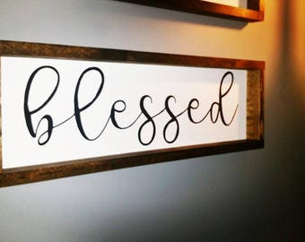 FREE SHIPPING Blessed Wood Sign, Wood Frame Sign, Modern Farmhouse, Farmhouse Decor, Distressed Frame, Wooden Sign, Farmhouse Style