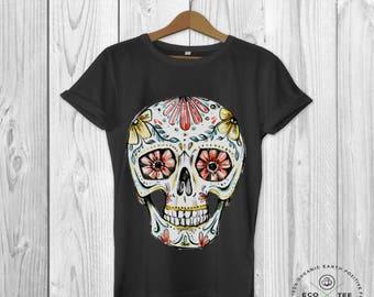 Sugar skull graphic tee, Day of the dead tshirt, Fairtrade tshirt, unisex shirts, Vegan tshirt, Eco friendly clothing, Organic tshirt