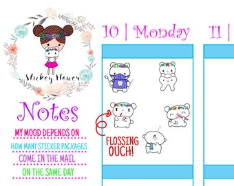 Blossom Bear Dental Care and Dentist SF 006-1, Cute Stickers for Personal planners, Erin Condren Life Planner, Happy Planner or Scrapbooking