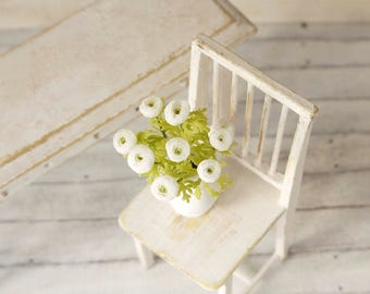 TO ORDER - White ranunculus 1/12 scale, dollhouse decor, dollhouse flowers, dollhouse miniatures