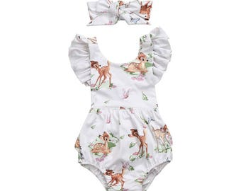 Little Deer Romper / Bambi Romper + Headband / Princess / Little Huntress / First Birthday / 1st Birthday / Cake Smash / Baby/ Girl/ Toddler
