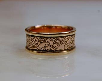 Celtic Birds and Dogs 14k GOLD with 14k GOLD raised borders, Celtic ring, Celtic band