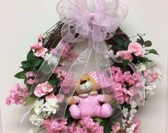 Baby Girl Wreath—Baby Wreath—Welcome Baby Home—Pink Girl Wreath