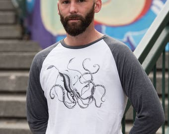 Giant Squid Baseball Tee