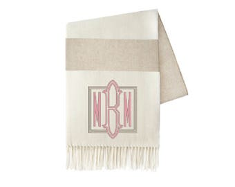 Monogrammed Throw, Dune Stripe