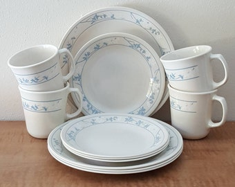 Corelle First of Spring 12 Pc Set: 4 Lunch Plates 4 Bread & Butter Plates 4 Corning Mugs Ivory with Blue Flowers Made In USA
