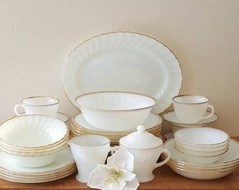Fire King Swirl Golden Anniversary Dinnerware 32 pc setting for 4