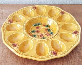 Egg Platter Deviled Egg Plate Ceramic Yellow