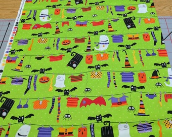 Stitchy Witchy Haunts-Bright Green Cotton Fabric from Robert Kaufman Fabrics
