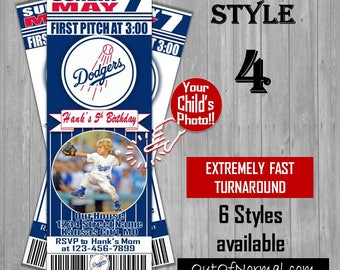 LA Los Angeles Dodgers Baseball Themed Birthday Invitation Tickets with photo - Birthday Invitations -Personalized - 6 styles! 2017