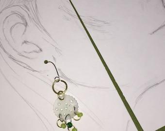Green Moon Shrink Film Earrings