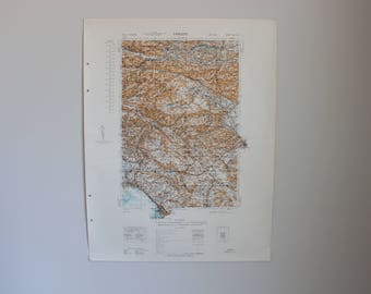 Authentic World War 2 Map - Trieste Region of Italy