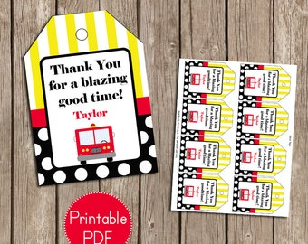 Firetruck, Firefighter Birthday Party Favor Tags- Printable, DIY