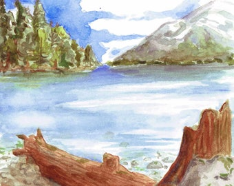 Lakeside View ( Original Watercolor Painting )