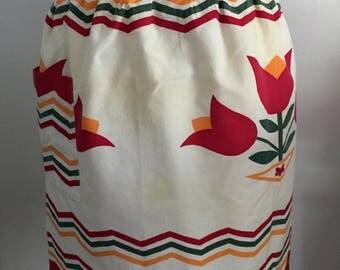 Vintage Half Apron Red Tulip Flower and Stripes Design
