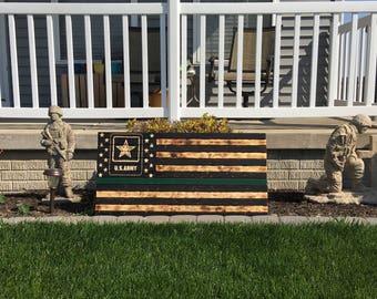 American Flag, Army, Military, Rustic, Distressed, Charred, Wood flag Army Wall Decor-Army Rustic Flag, Military Flag  Army Flag
