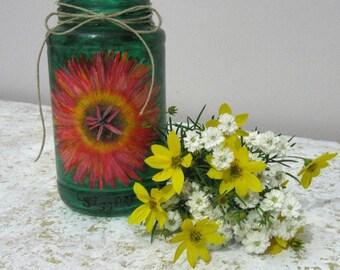 Glass Vase Green Flower Gerbera