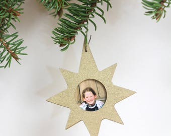 Christmas tree decoration, Personalised Christmas ornament, Frame-star, Small frame, Mini frame, Personalised star, Frame pendant, Portrait